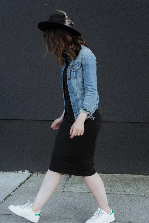 wool hat - denim jacket - body con dress - style a