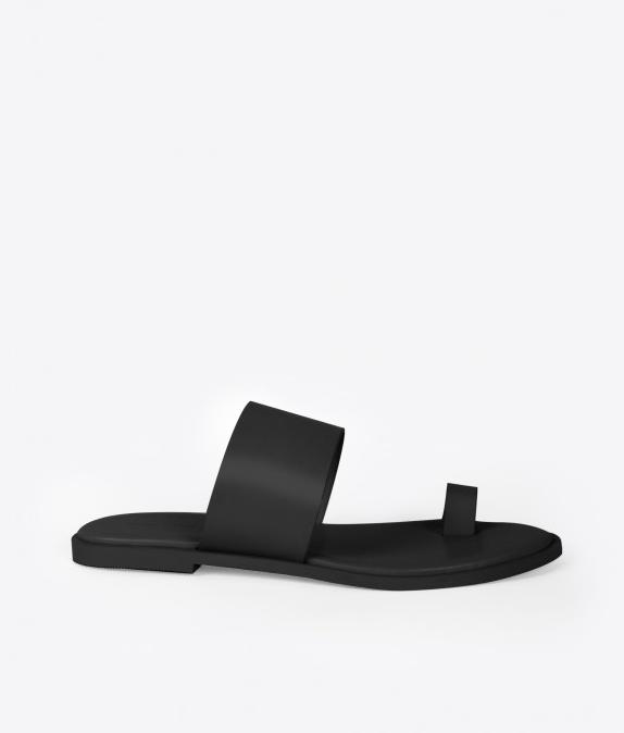 Oak+Fort Black Slide Sandal 1276