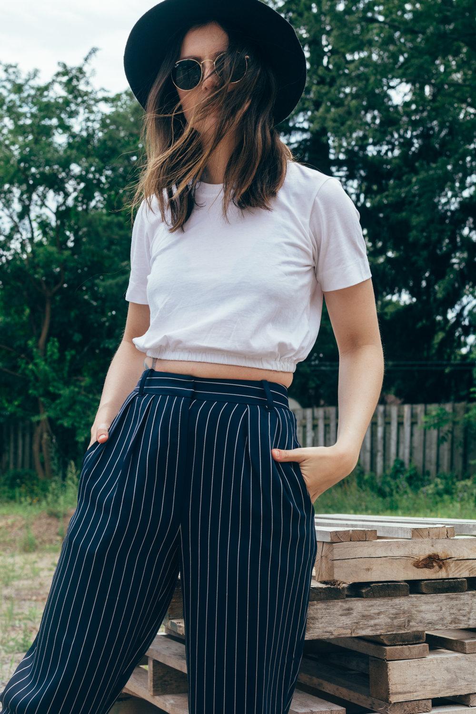 babaton modesto pants navy pinstripe pyjama pant - style apotheca