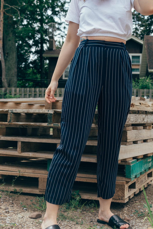 babaton modesto pants aritzia navy pinstripe pyjama pant - styleapotheca