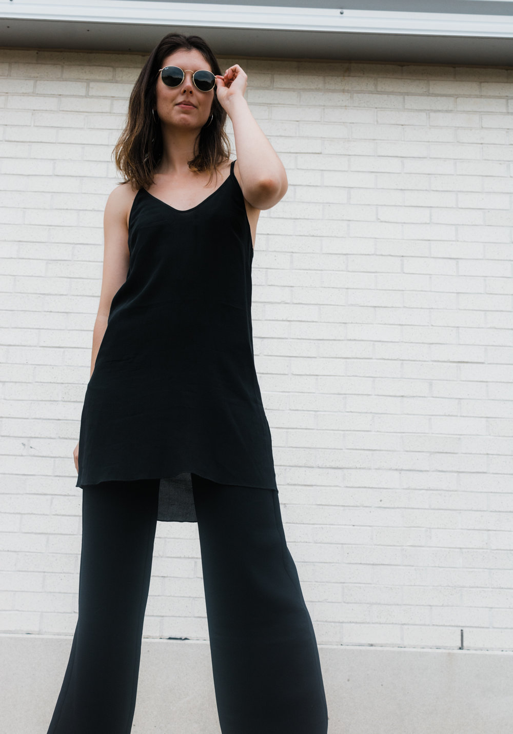 slip dress wide leg pants layering - style apotheca