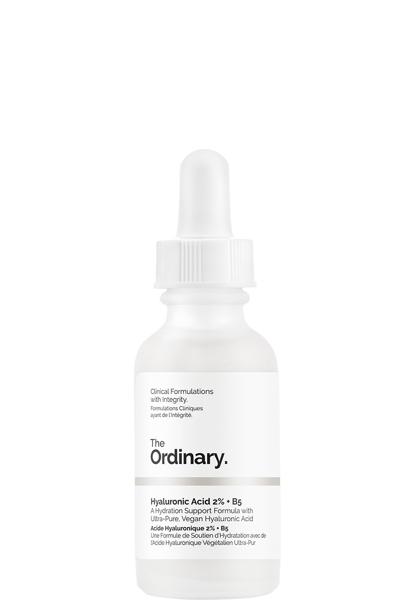 AM Step 1) The Ordinary Hylauronic Acid 2% + B5 $6.80 CAD - Use after cleansing but before moisturizer AM and PM. Improves skin hydration and elasticity. Hylauronic acid (HA) attracts up to 1000x its weight in water and vitamin B5 works together with HA to improve skin surface hydration for plumper, more hydrated skin.