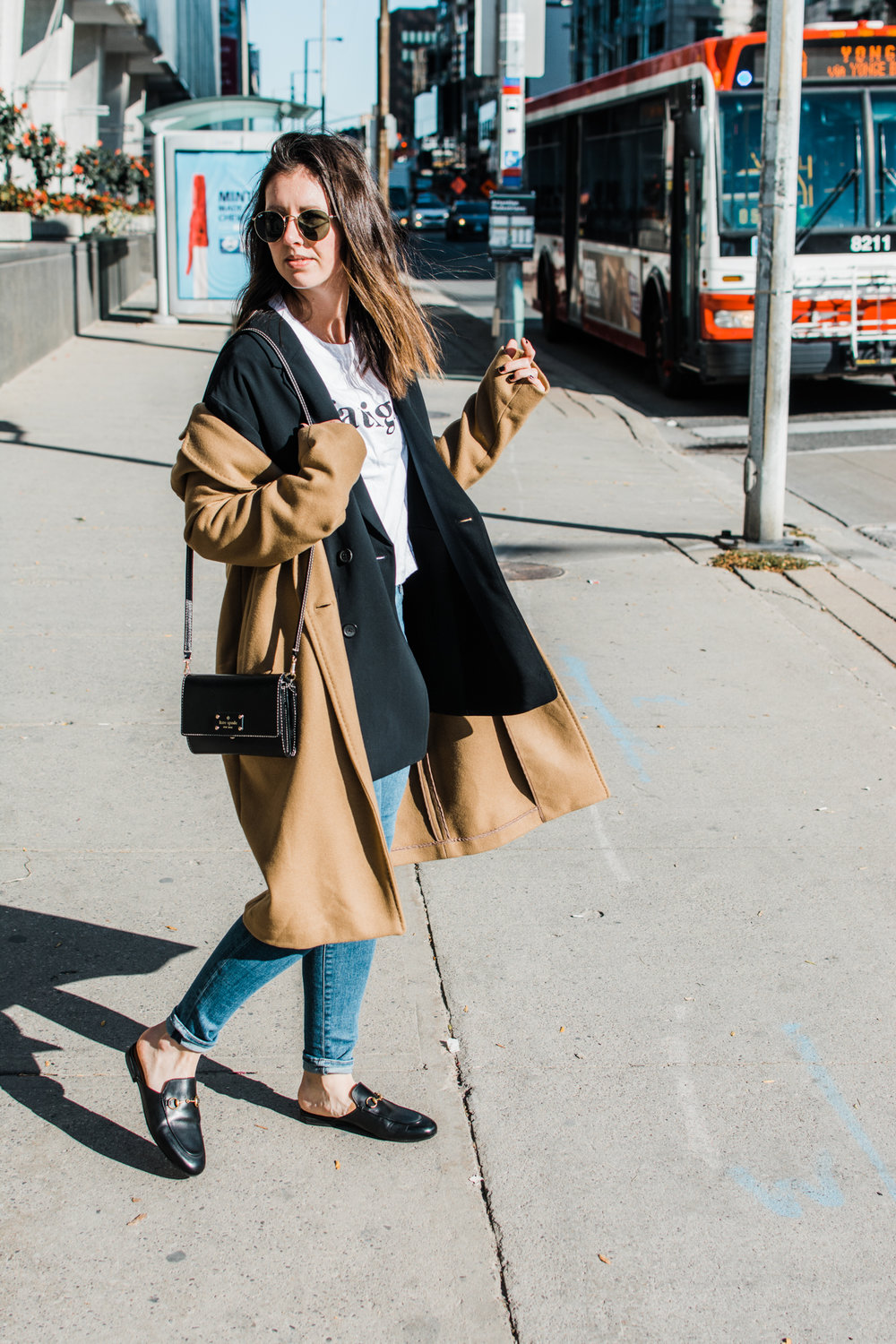graphic tee and a blazer aritzia stedman coat style apotheca wilfred blazer