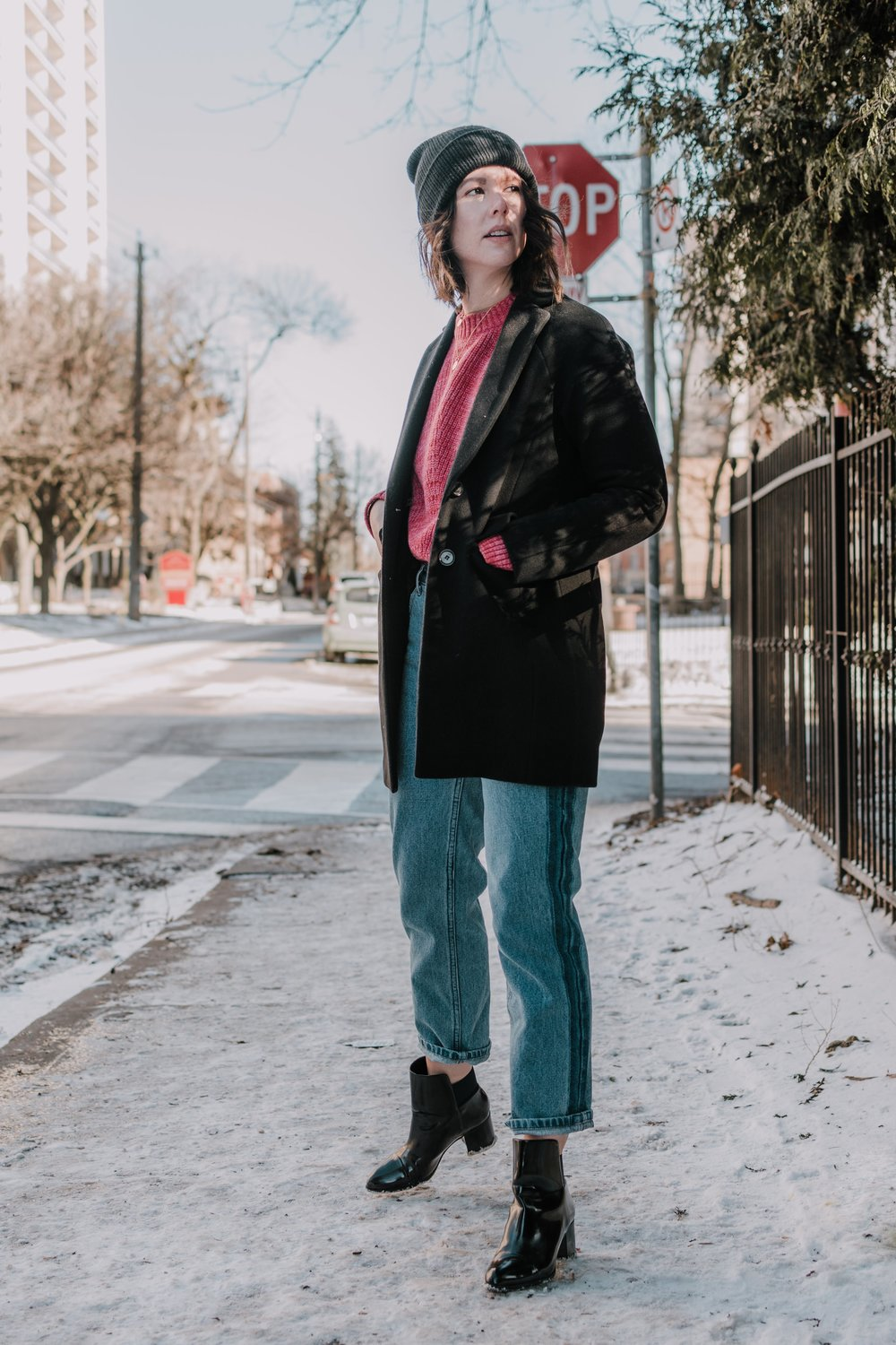 Ribbed-Cotton Crewneck Sweater in Carmine Heather  Frank and Oak Patti Straight-Leg Jean in Medium Indigo style apotheca toronto fashion toronto style street style blogger
