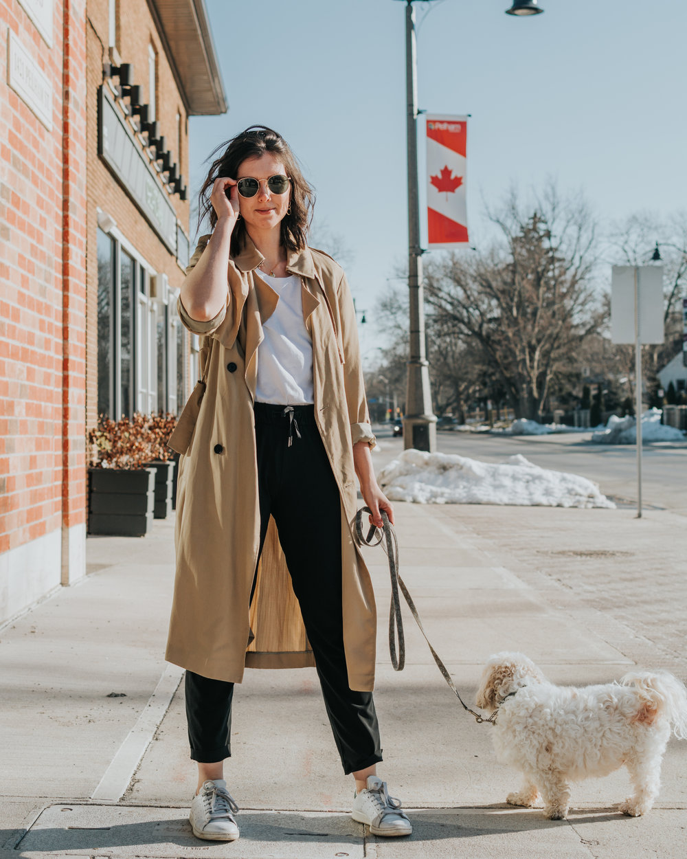 althleisure style - camel trench coat - lulu lemon on the fly pant - style apotheca