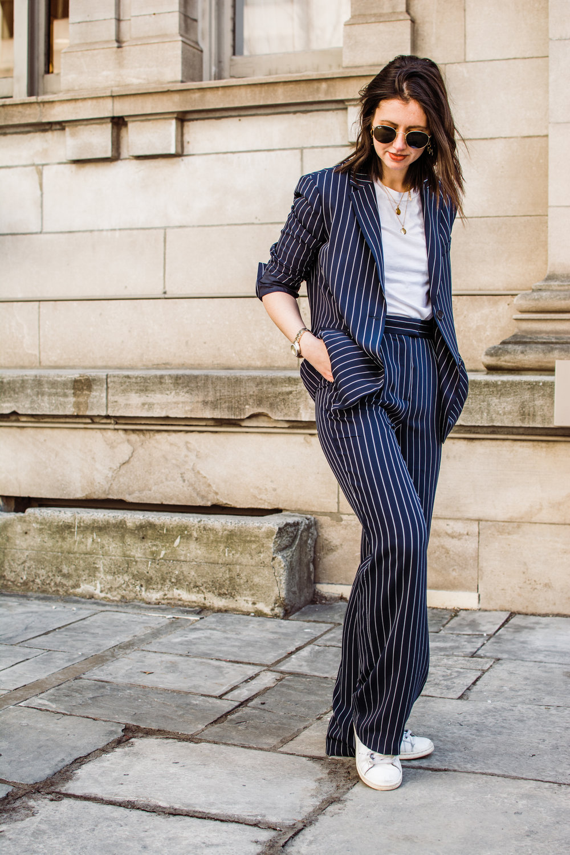 babaton striped suit aritzia pin stripe suit power suit outfit - style apotheca