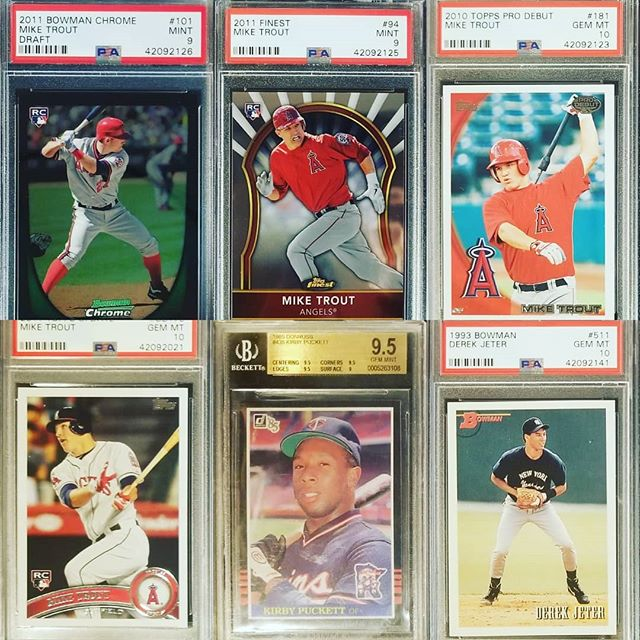 Some of my #favorite item from our current @psacard order.  @miketrout #MikeTrout @jeterturn2 @topps #kirbypuckett #bowmanchrome #toppsupdate #toppsdebut #fleer #bowman  #thehobby #collectibles #autograph #tradingcards #whodoyoucollect #webuysportscards #guidetothesportscardsworld #blackjadedwolftv  SHOP www.blackjadedwolf.com