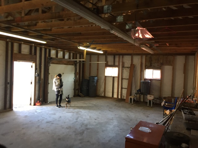The garage has been cleaned and demo'd.  There was a partition wall, shop cabinetry, a bathroom and a 2nd story loft that have all been demo'd and hauled away.