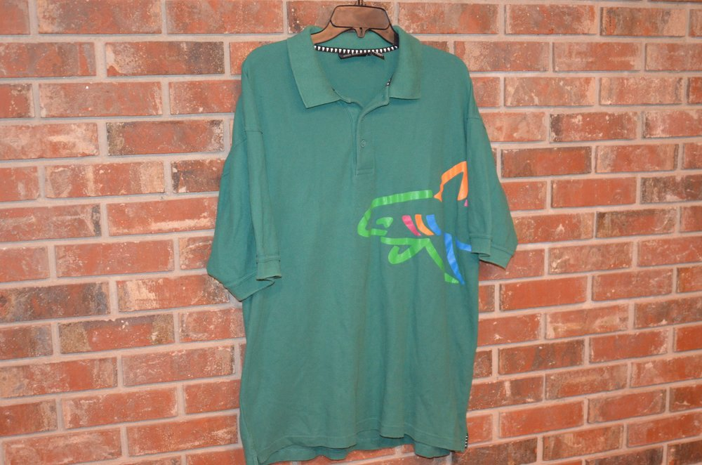 Greg Norman Shark Logo Wraparound Polo Shirt Bloodthirsty Vintage