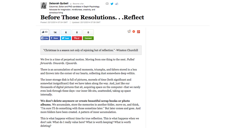 Before Those Resolutions. . .Reflect
