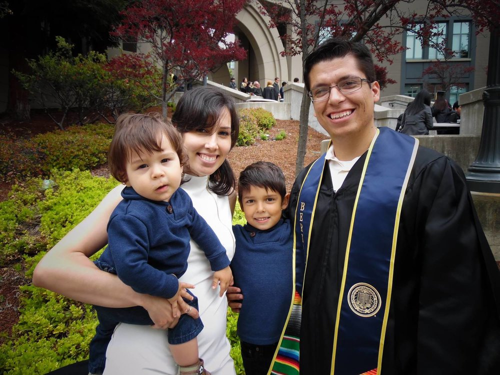 Lonjino Lazcano (a student-parent at Cal) and his family.  Permission granted by Cal's Student-Parent Center.
