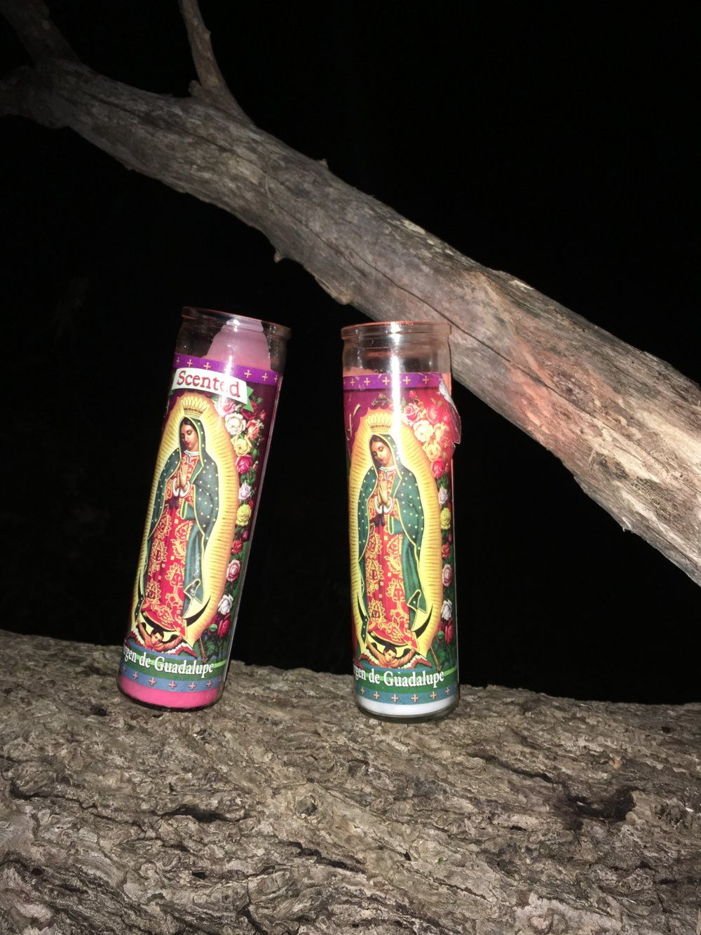 She brought two Lady Guadalupe candles.