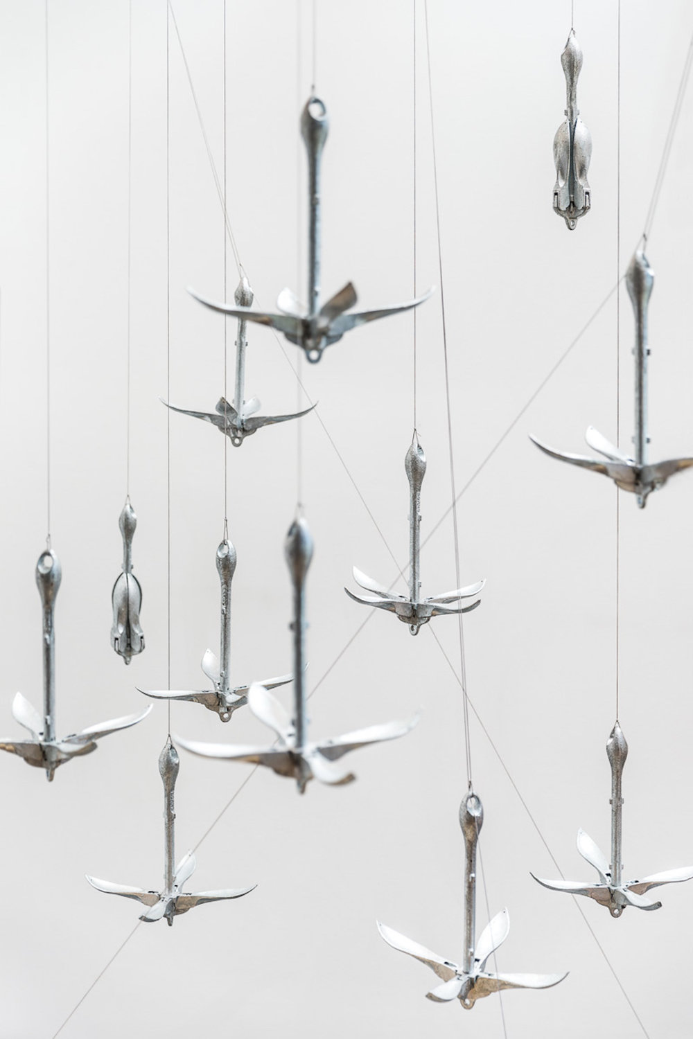 Edwina Cooper,  The Weather Work  (studio detail), 2015, Anchors, dynex, shockcord, pulleys, motors, plywood, pine, saddles, thimbles, eyelets, whipping twine, 308 x 180 x 180 cm, Photograph James Field, courtesy of Adelaide Central School of Art
