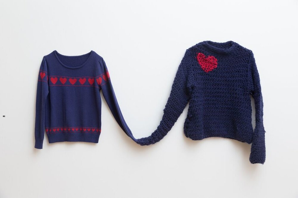 Christina Peek, Love Jumpers, 2015, artists own jumper, wool, dimensions variable, photograph James Field, courtesy of Adelaide Central School of Art.