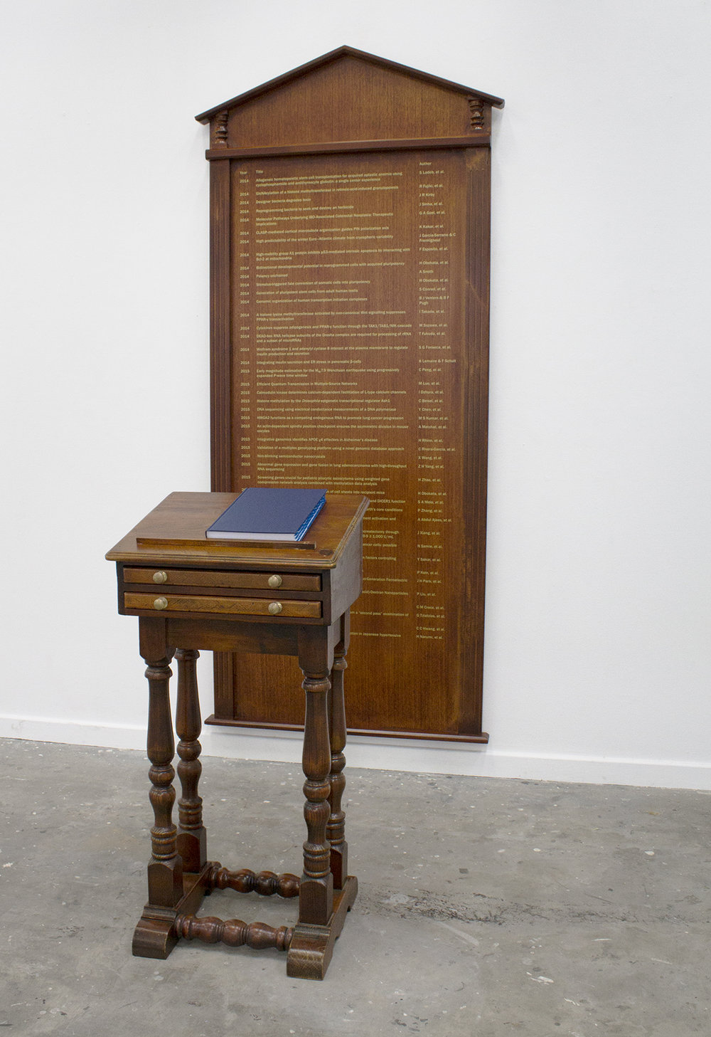 Ash Tower, Studies of Nature, 2017, honour board, lectern, bound book, 110 x 250 x 175 cm, Image courtesy of the artist