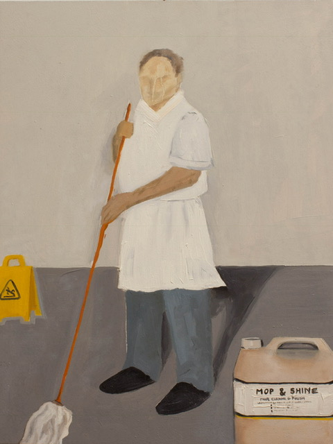 Leah Craig, Mop Man, 2016, oil on panel, 31cm x 41cm