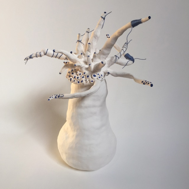 'Get knotted', 2016, porcelain, paper clay, thread, cobalt underglaze, 30cm x 15cm approx. Maggie Moy