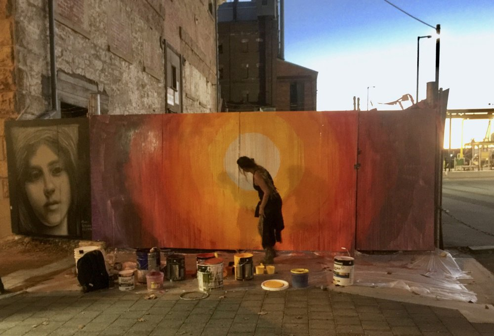 Artist at work as part of the Port Adelaide Local Jam, Hart's Mill