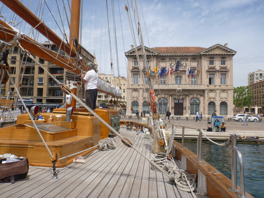 Spending time on 'Le Don du Vent' in the port of Marseille