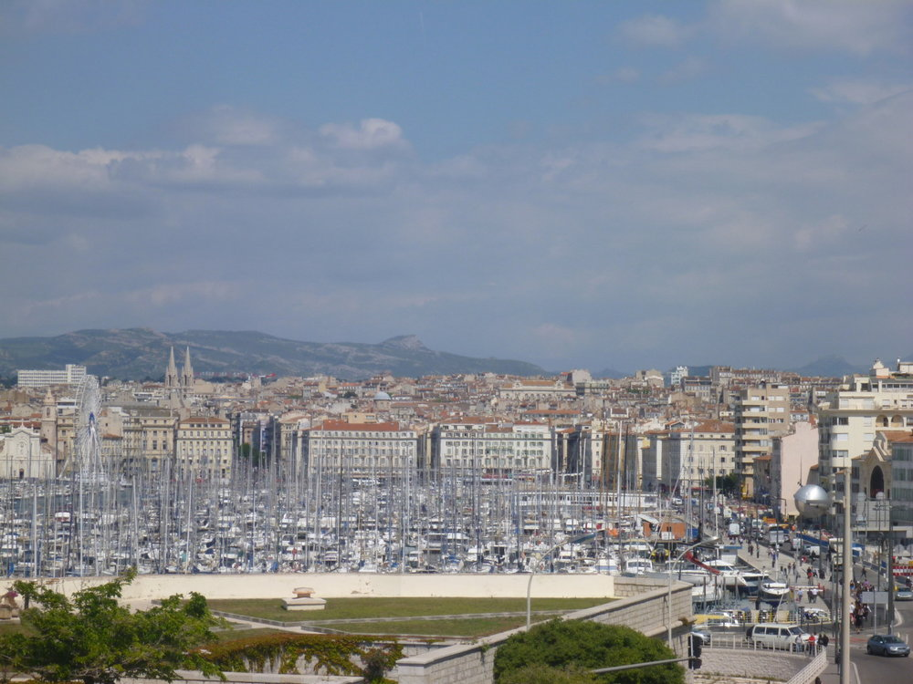 Looking back over the port town of Marseille