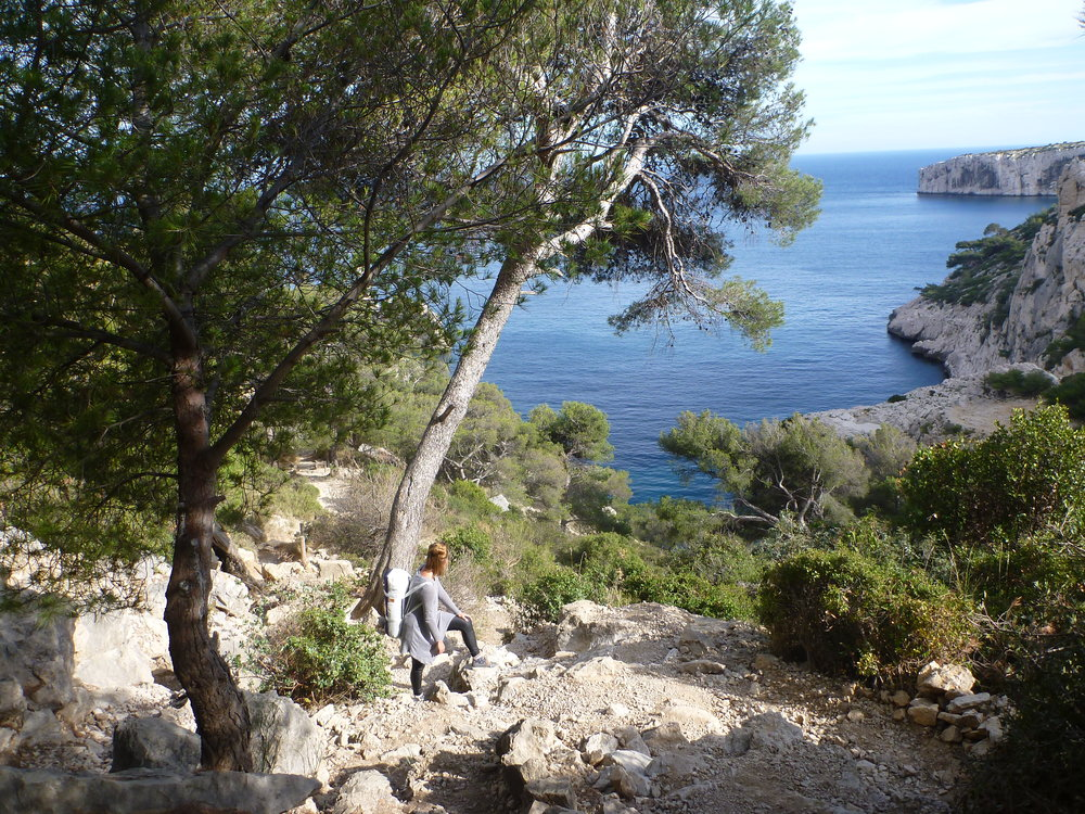 Edwina visiting the Calanque du Sugiton whilst in residence in Marseille