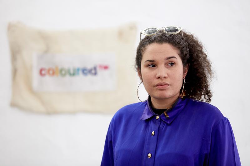 Artist Roberta Rich mid artist talk, photo by Zelé Angelides