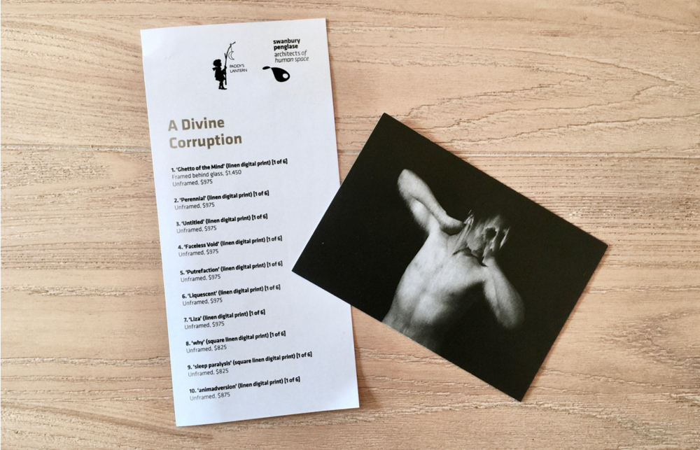 The floor sheet and promotional postcard for  A Divine Corruption .