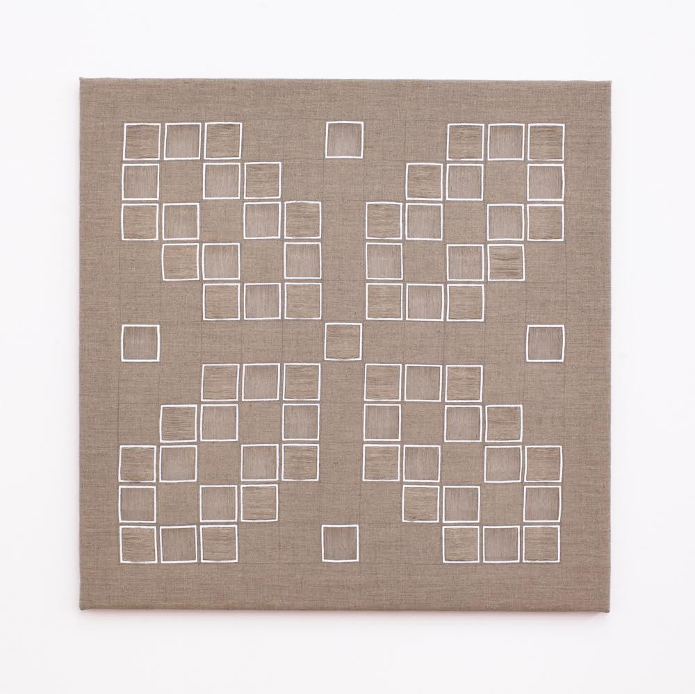 Lucia Dohrmann,  Untitled , 2016, graphite and acrylic on fine art linen, drawn thread embroidery, 75 x 75 cm (image by James Field Photography).