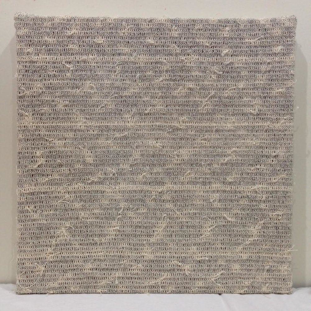 Lucia Dohrmann,  Reconstructed Canvas in Neutral Grey , 2017, unravelled acrylic on cotton canvas, crochet, 41 x 41 cm
