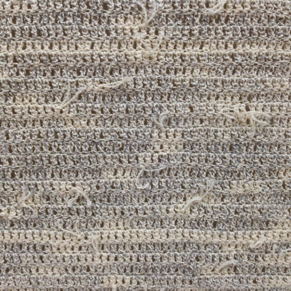 Lucia Dohrmann,  Reconstructed Canvas in Neutral Grey , 2017, unravelled acrylic on cotton canvas, crochet, 41 x 41 cm (detail)