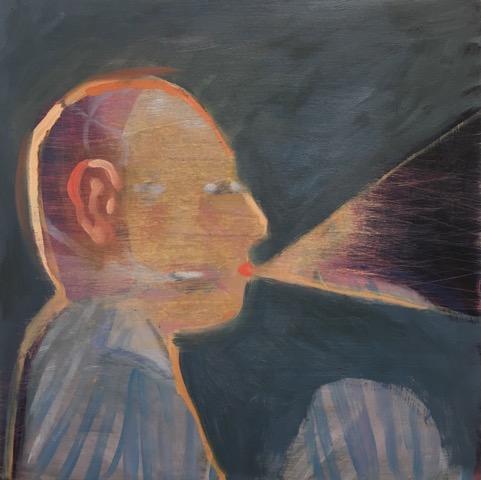 Cassie Thring, Telling Myself  , 2016, oil on board, 20 cm x 20cm