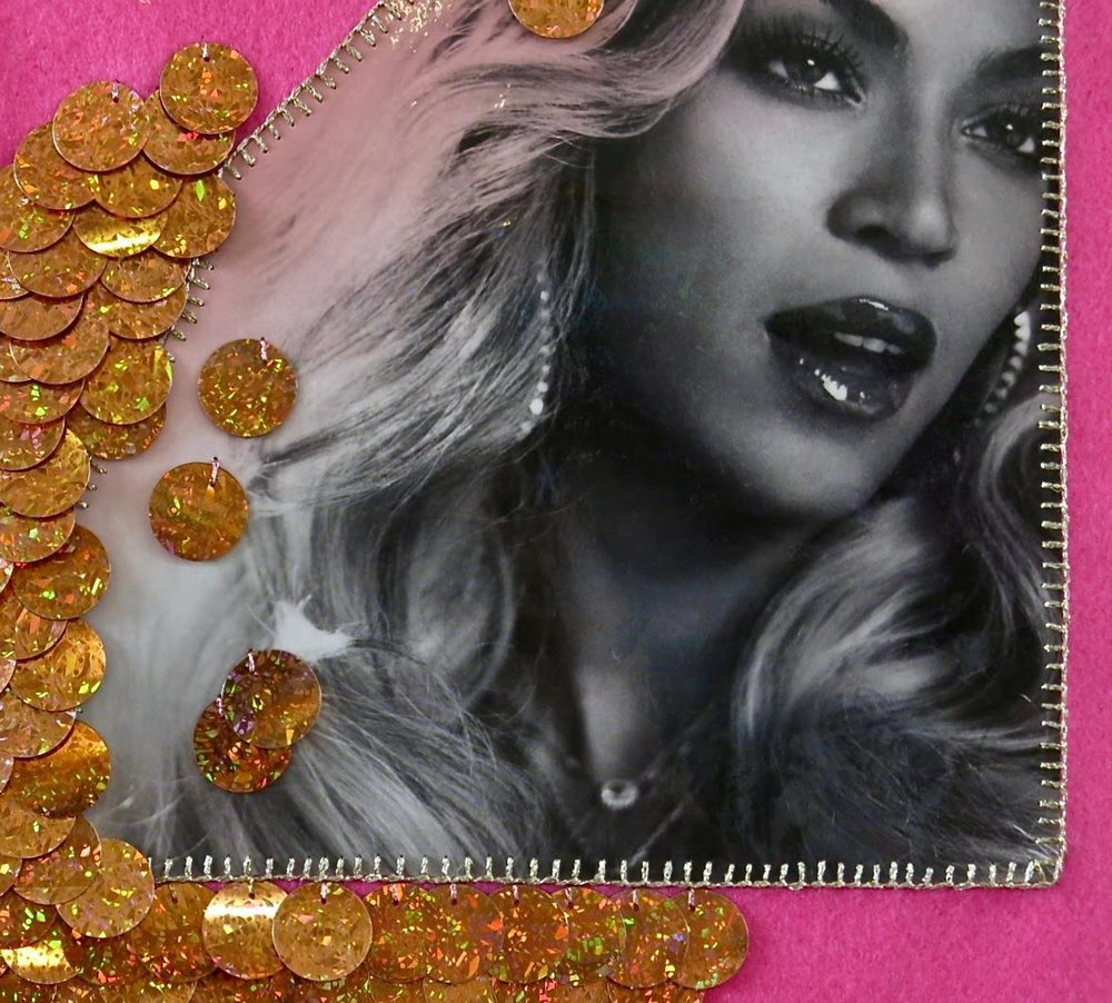 Carly Snoswell , Since 2011 , 2017, found images of Beyonce, felt, sequins, beads, metallic thread, cotton, wool, various trim