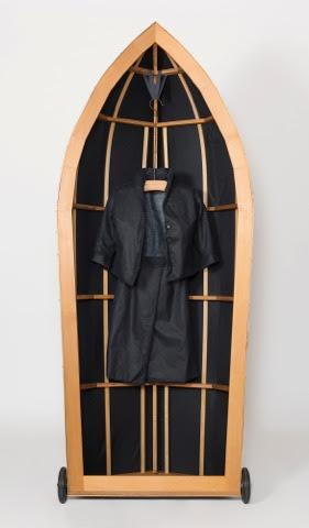 Jacqueline Bradley,  boat race - boat jacket,  2016, oilskin, timber, linen, steel, oars and cotton, dimensions variable.