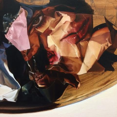 Olivia White, Tossed Guilt Salad , (detail), 2017, oil on Linen, 96 x 76cm