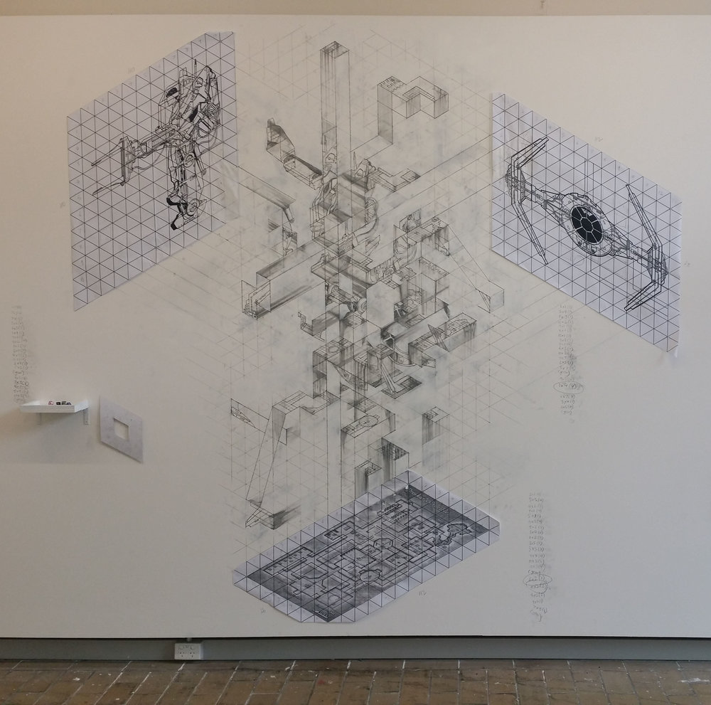 Roy Ananda,  Composition for three orthographic views,  2017, graphite, gesso and   digital prints on wall, with polyhedral dice determining certain drawing outcomes.