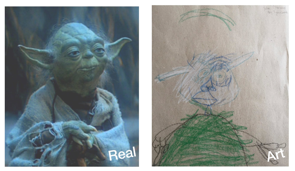 Left: Still from the 1980 film  The Empire Strikes   Back.  | Right: Roy Ananda,  Yoda (Star Wars),  1983, Crayon on Card .