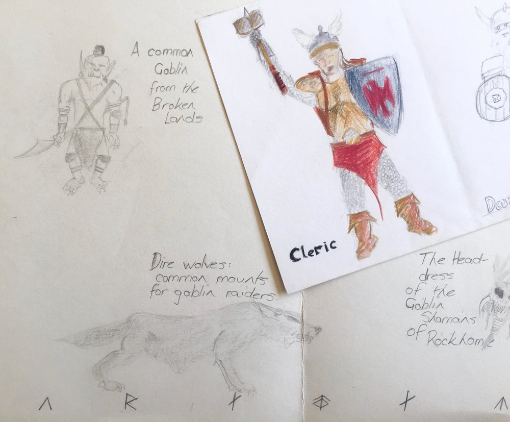 Roy Ananda,  Character Designs for Dungeons and Dragons.  1990. Graphite and coloured pencil on paper.