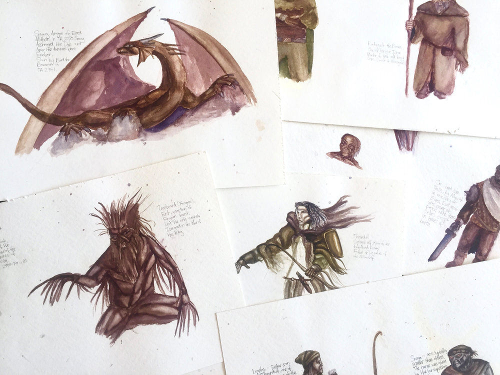 Roy Ananda,  Lord of The Rings Characters,  1993, Graphite and watercolour on handmade paper.