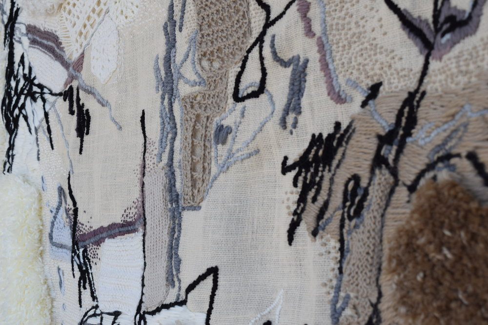 Melanie Cooper, Untitled (detail), 2017, acrylic and wool on hessian, 115 x 87 cm.