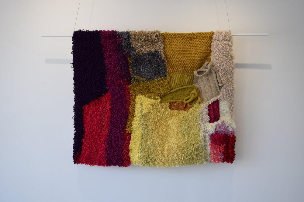 Melanie Cooper, Terra Firma, 2017, acrylic and wool on hessian, 108 x 88 cm.