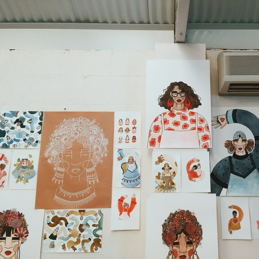 A collage of all the exhibition pieces to get an overall vibe for the body of work.