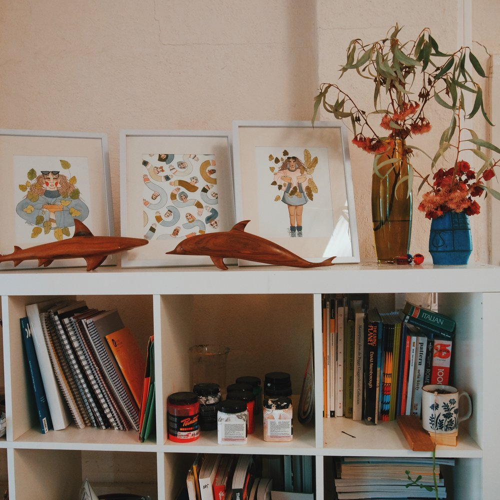 All Bella's family's art books, magazines, paper and stationary.
