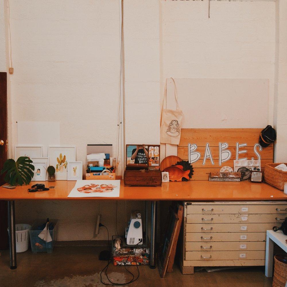 Bella's work space.