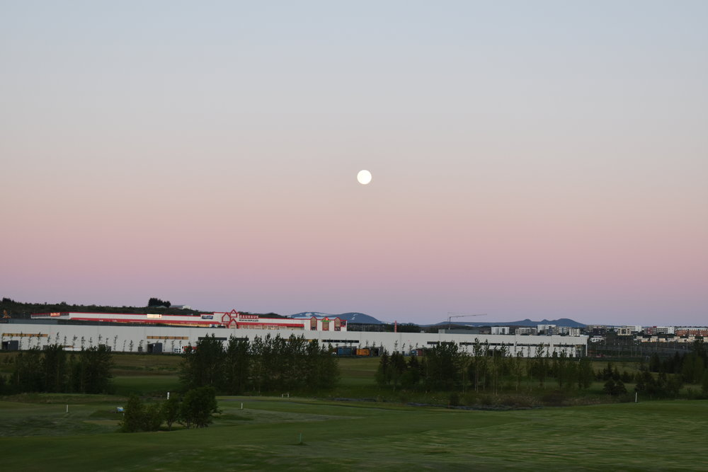 The moon at 12pm, from the kitchen window. In summertime, Iceland experiences the midnight sun. The residency was surrounded by a large golf course, and it wasn't unusual to see people teeing off late at night.