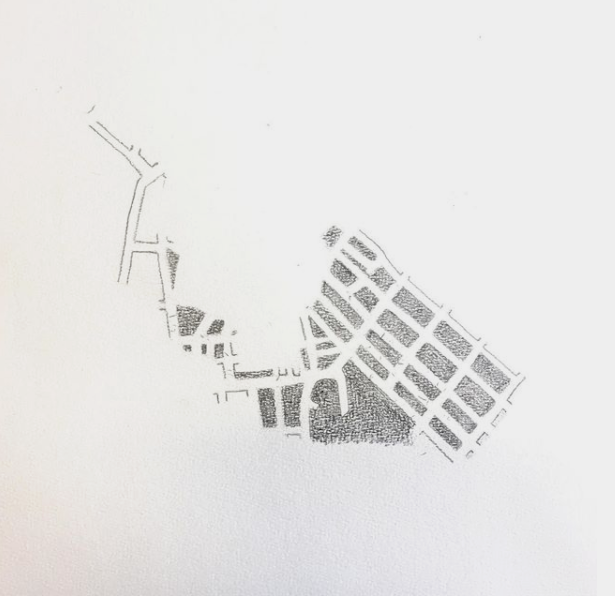 One of the maps I sketched that traced out the streets I walked in the city one day.