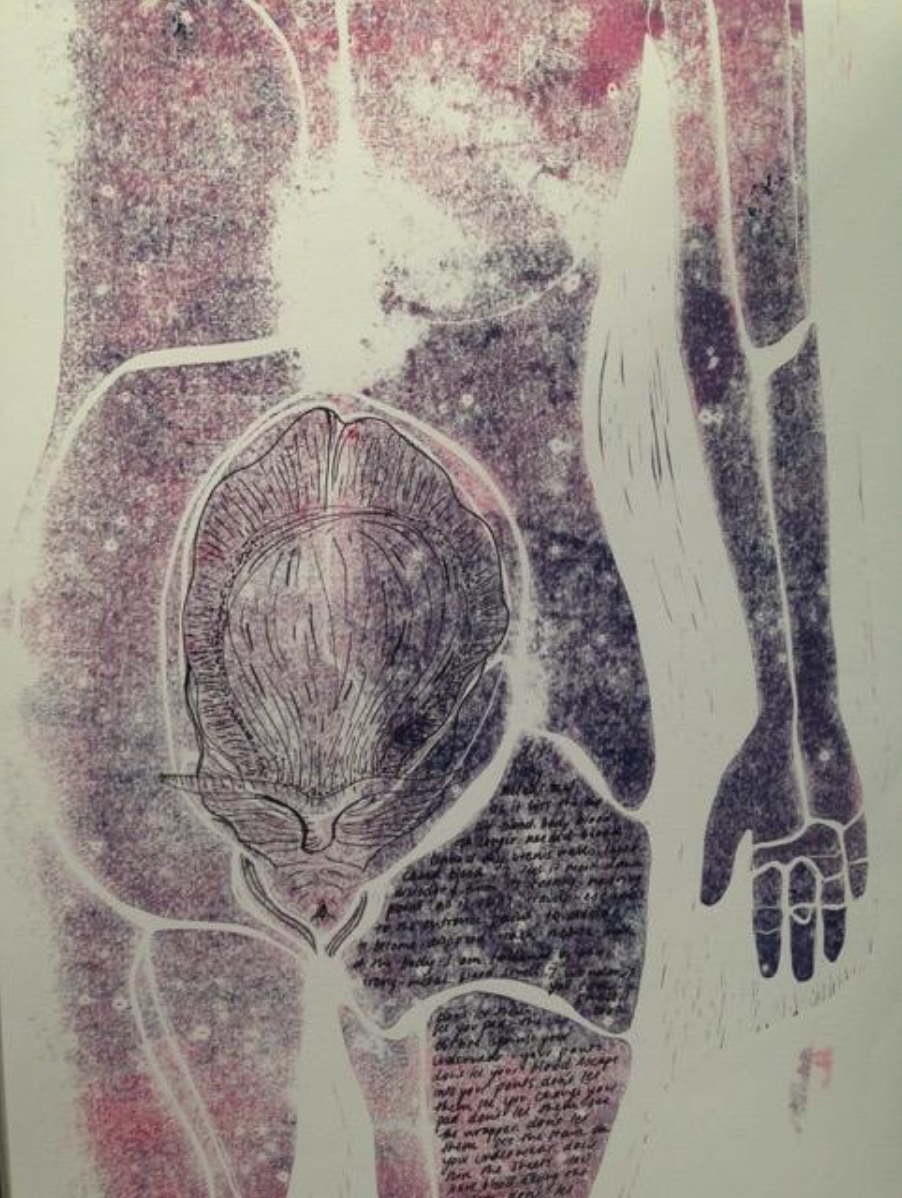 Image:  Womb-body study,  lino print and pen, 2017