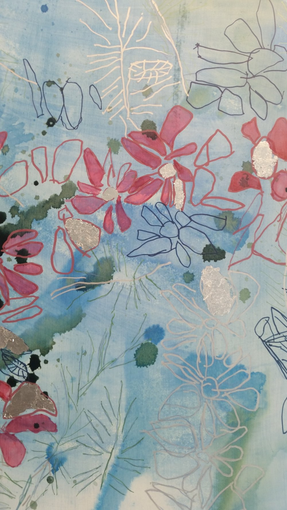Megan Long,  Flowers and Park (detail) , 60 x 80 cm, acrylic on board