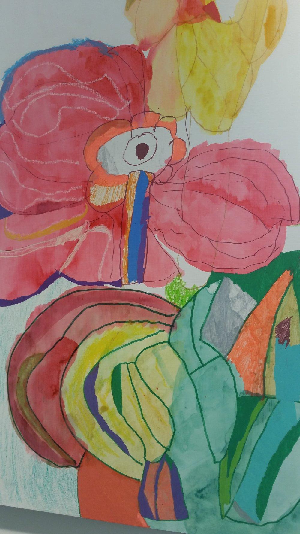 Jasmine Jones, The Flowers (detail) , 60 x 80 cm, mixed media on board