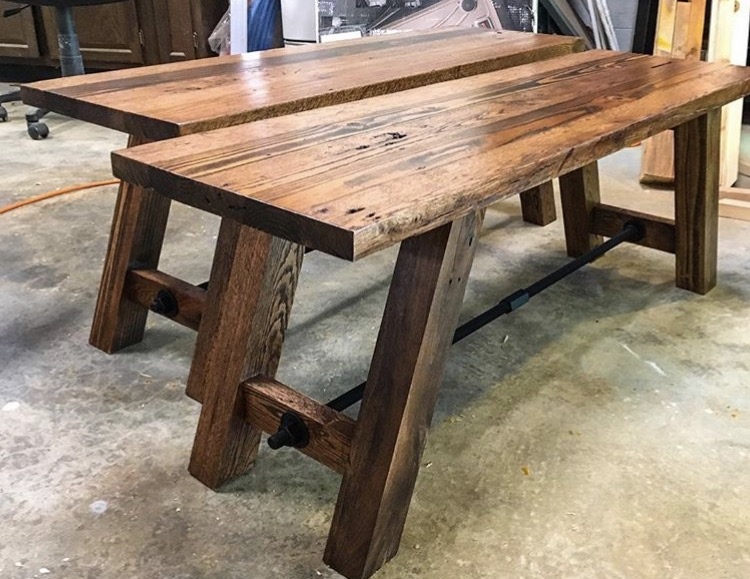 reclaimed pine/oak benches