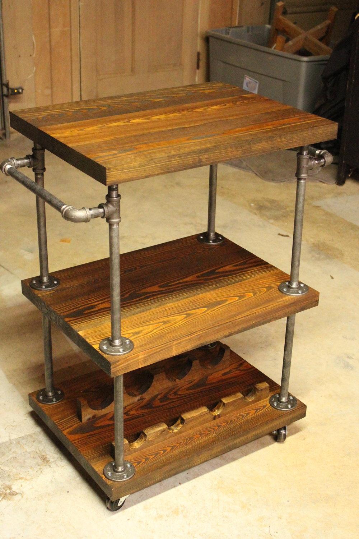 heart pine bar cart